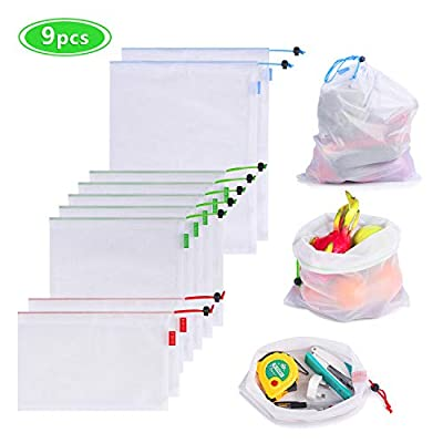 Reusable Produce Bags, Eco Mesh Bags See-Through Grocery Shopping Storage Bags for Vegetables Fruit Fridge Organizing Large Medium Small - IMARVELO (9 pcs)