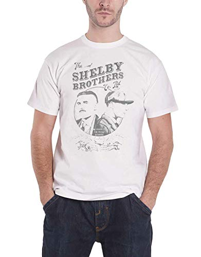 Official Peaky Blinders T Shirt Shelby Brothers Circle Faces Logo New Mens White,L