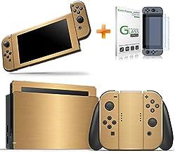 Kit Skin Adesivo Protetor Nintendo Switch + Película de Vidro (Dourado)