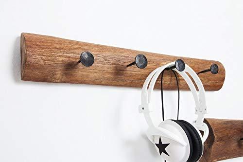 Licht-Erlebnisse Massivholz Garderobe 50cm Holz Teak Braun Industrie Stil Vintage Wandgarderobe Metall