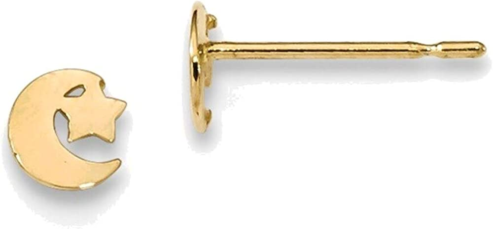 Madi K Star and Moon Post Earrings in 14K Yellow Gold