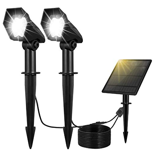 YUNLIGHTS Solar Spotlights Outdoor Low Voltage Solar Landscape Lights Dimmable, 6000K, Outdoor Solar Lights Battery Operated IP65 Waterproof Garden Solar Stake Lights for Patio Yard Pathway, White