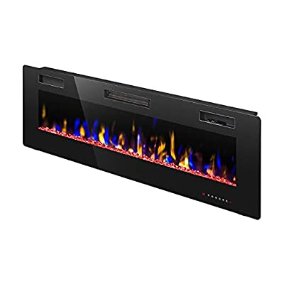 """R.W.FLAME 42"""" Electric Fireplace, Fully Recessed Wall Mounted and in-Wall Fireplace Heater, Remote Control with Timer, Touch Screen, Adjustable Flame Colors and Speed, 750/1500W"""