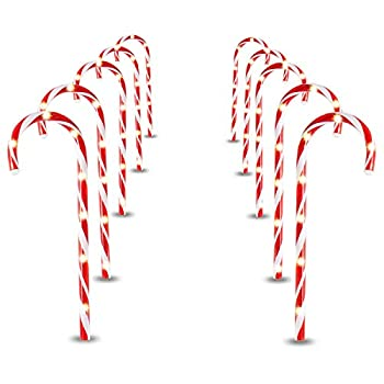Joiedomi 17  Christmas Candy Cane Pathway Markers Set of 12 Christmas Pathway Lights with 72 Warm White Lights for Indoor and Outdoor Christmas Decorations