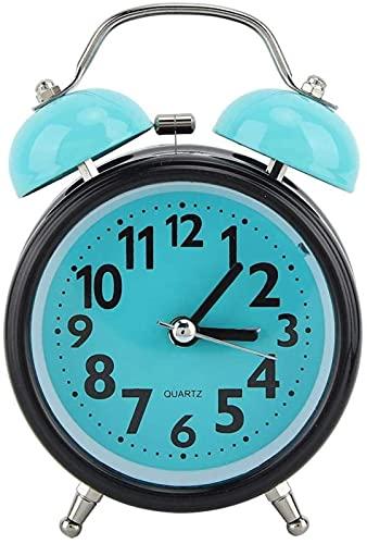 DFGBXCAW Día de San Valentín Carnaval Despertador de plástico, Azan Reloj Despertador de Campana Doble Reloj Despertador Luminoso de Noche Azul Claro Reloj Despertador de Campana Doble Bedsi