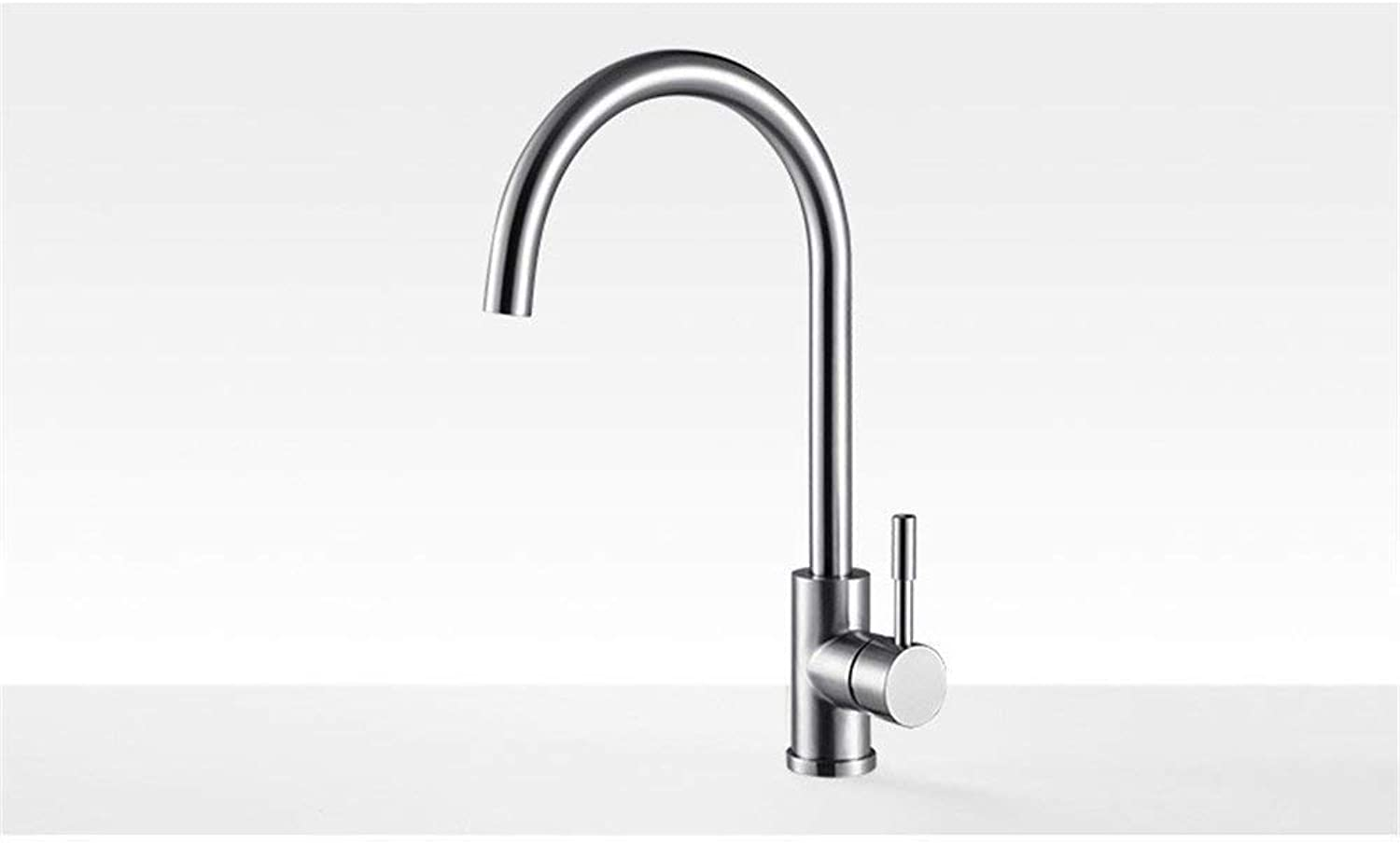 Vegetables Basin Kitchen Faucet Hot And Cold Copper Sink Faucet Single Full redation Of 304 Stainless Steel Cold Kitchen Faucet Ceramic Valve Core, Stainless Steel Elbow Hose [60] Containing 2