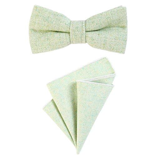 DonDon Herren Fliege 12 x 6 cm gebunden längenverstellbar und Einstecktuch 23 x 23 cm farblich passend aus Baumwolle hellgrün