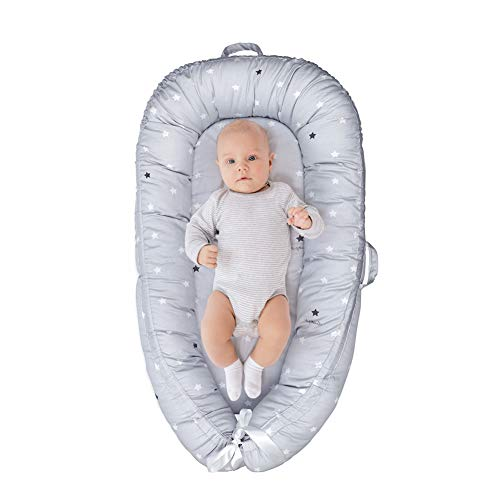 Baby Lounger & Baby Nest Co Sleeper for Newborn Portable Bassinet Bed Soft Cotton Easy to Clean Babies Crib Large Size(0~12months) (Grey Star)