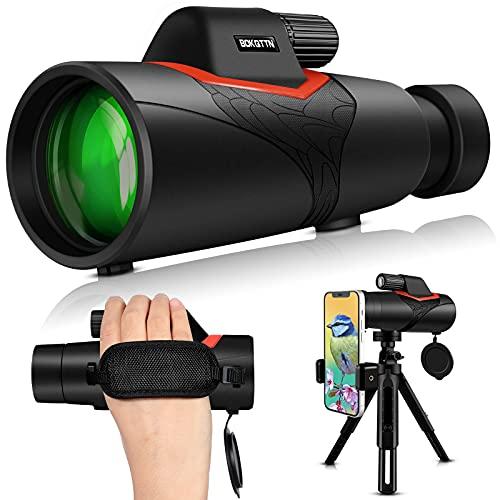 BOKQTTN Telescopio monocular 12 x 50 HD Starscope telescopio con correa de mano, trípode y bolsa de transporte, objetivo FMC y prisma BAK4 prisma para observación de aves, concierto, juego de pelota