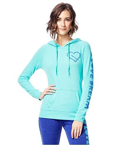 Aeropostale Womens Heart Logo Hoodie Sweatshirt, Green, Medium