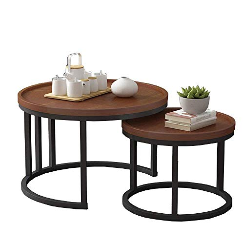 Carl Artbay Home&Selected Furniture/Industrie Nesting Koffietafel, set van 2 End bijzettafels, woonkamer sofa snack tafel, bruin desktop en metalen frame