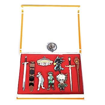 My Hero Academia Keychain Set,Anime Alloy Necklace Keychain Pendant Todoroki Bakugou Badge Sword Cosplay Costume Accessories  9pcs