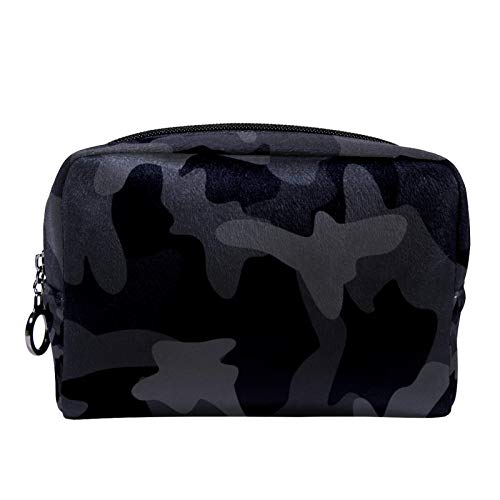Cosmetic bag Womens Makeup Bag For travel to carry cosmetics change keys etc,Dark Black Camouflage