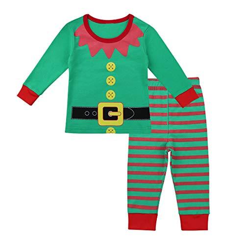 inhzoy Disfraz de Elfo Navidad para Bebé Niño Pijama Dos Piezas Camiseta con Pants Traje de Navideño Papá Noel Ropa de Dormir Cosplay Christmas Verde 2-3 Años