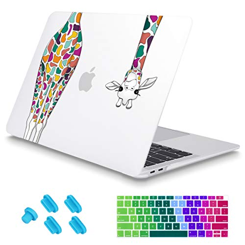 Maychen MacBook Air 13 Inch Case 2018 Compatible A1932, Soft Touch Shell Cover, Hard Shell Case Colorful Giraffe Pattern Compatible MacBook Air 13 Inch & Retina Display Fits Touch ID, Z480