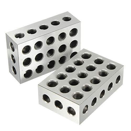 YUQIYU 2pcs 25x50x75mm endurecidos bloques de acero 23 agujeros paralelos de sujeción del bloque de torno Herramientas de 0.005 mm Precisión for Máquina-Herramienta