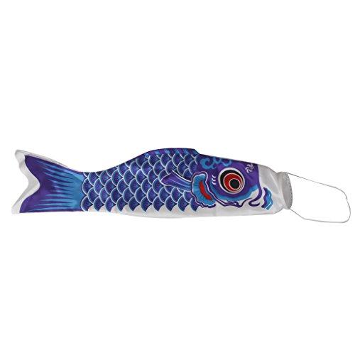 FLAMEER Japanisch Windsack Karpfen luftsack Fahne Koi Nobori Speerfisch Fisch Wind Streamer - Blau, 150cm