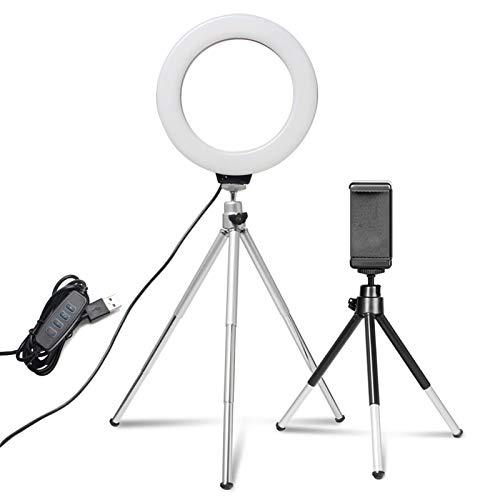 GYY Video de Escritorio de Mini LED de 6 Pulgadas trípode con lámpara de lámpara de Anillo Barato Soporte para Maquillaje en Vivo fotografía fotografía Estudio para Youtube Video TikTok