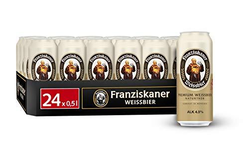 Franziskaner Hefe-Weizen Weissbier Dosenbier, EINWEG (24 x 0.5 l Dose), Weissbier / Weizen Bier aus München