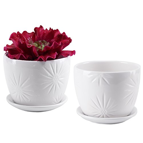 MyGift Set of 2 White Starburst Design Ceramic Flower Planter Pots/Decorative Plant Containers with Saucers