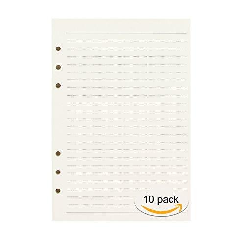 CA Mode(JP) リフィル ルーズリーフ 詰め替え用紙 文庫本サイズ 厚型 A7 バインダー 6穴 罫線 線なし 5スタイル 45枚(90ページ)10パック ノートブック 交換用 金銭出納帳 厚紙 書きやすい 横線 高級筆記用紙 プリントが貼れる 替