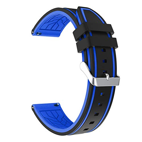 JAAIFC Silicona Soft Sport Wamkband 20mm 22mm 24mm 26mm Buceo de Goma Hombres Impermeables Reemplazo Pulsera Banda Correa Reloj Accesorios (Band Color : Black Blue 02, Band Width : 26mm)