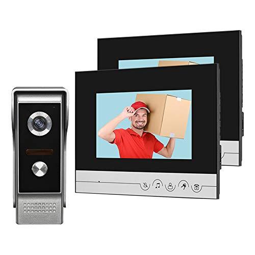 HFeng Sistema videocitofonico 2 monitor Videocitofono 7 pollici Clear Display per campanello per la casa Videocamera Night Vision Max a 100 metri