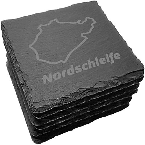 Nürburgring – Set di 6 sottobicchieri per bevande, in ardesia, decorazione per la casa e la sala da pranzo, uomini e appassionati di sport da corsa, colore: nero