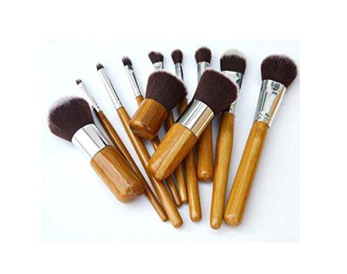 Zhicaikeji 11 bambou poignée maquillage brosse linge sac maquillage brosse bois couleur maquillage brosse maquillage beauté maquillage