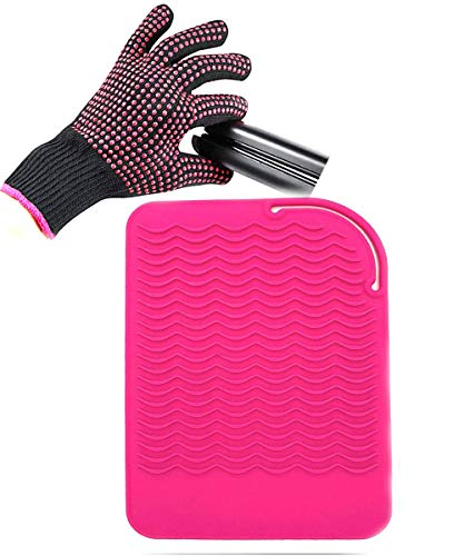 """Curling Iron Mat, Heat Resistant Mat with Heat Resistant Glove for Hair Straightener, Flat Irons, Silicone Bump Glove, 9"""" x 6.5"""" Food Grade Silicone Mat, Pink"""