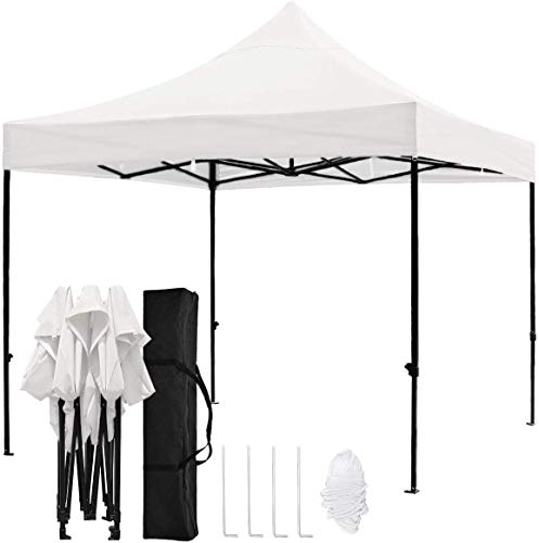 kdgarden 10'x10' Outdoor Easy Pop Up Canopy with 420D Waterproof and UV-Treated Top, Portable Party Shelter Tent with Carrying Bag, White