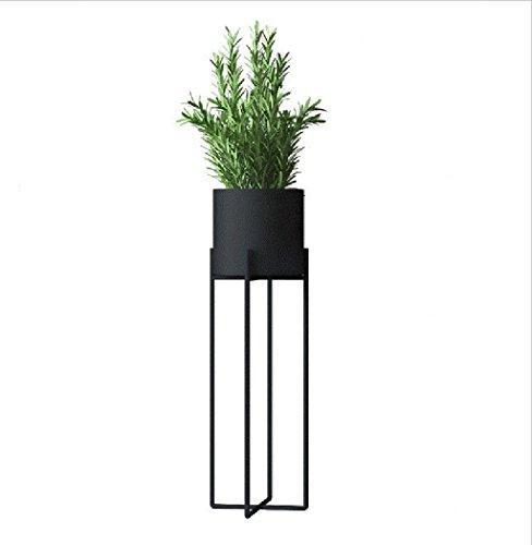 WEN Europäische Schmiedeeisen-Blumen-Regal, kreativer Innenboden-stehender Art-Blumen-Stand-einfaches schwarzes Pflanzen-Gestell (Farbe : SCHWARZ, größe : Small)