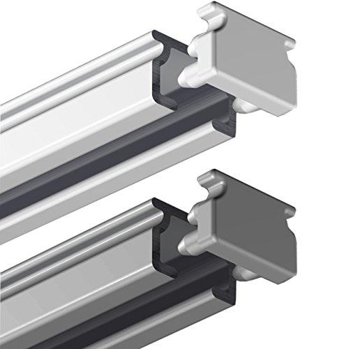Garduna 120cm eckige Gardinenschiene | Silber | Aluminium | vorgebohrt | Schleuderschiene