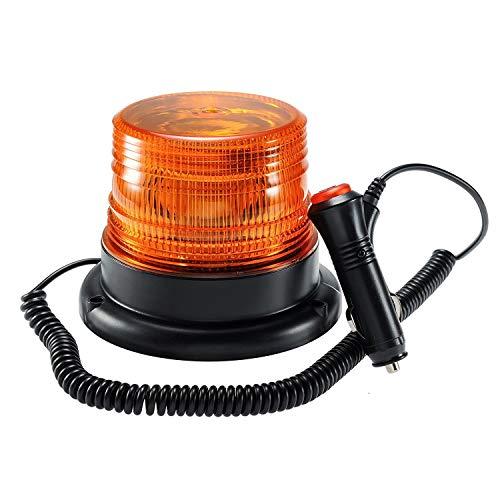 Rotativo Luz LED estroboscópica, faro intermitente de advertencia de emergencia ámbar magnético para camión o vehículo con enchufe para mechero de coche de 12-24V
