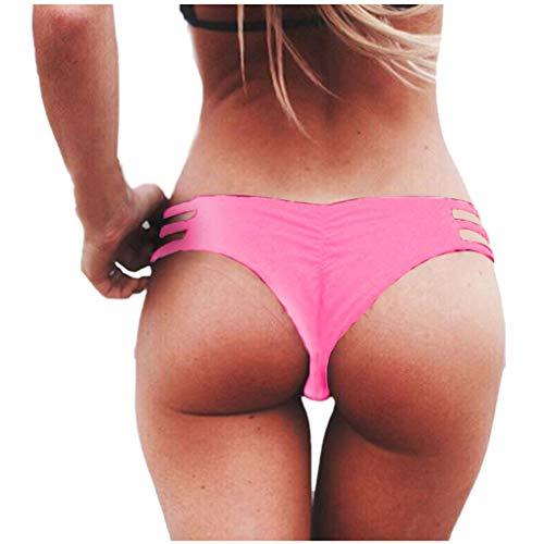 Dorical Damen Bikinihose Bikinislip Panty Bikini-Hose Seitlich Hohl/Frauen Badehose Tanga String Rüschen Brazilian Sexy Bikini Slip Schnüren Höschen Unterwäsche Schwimmhose(Rosa,Large)