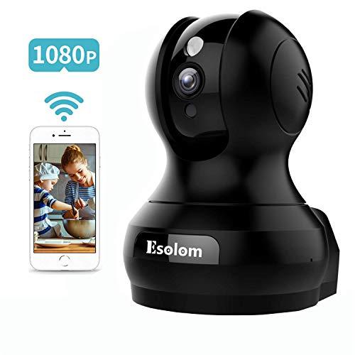 1080P Cámara IP, ESOLOM Cámara de Vigilancia WiFi Interior 360 HD, Monitoreo Nocturno, Audio Bidireccional, Alarma de Telefono Movil, Bebe/Viejo Hombre/Mascota