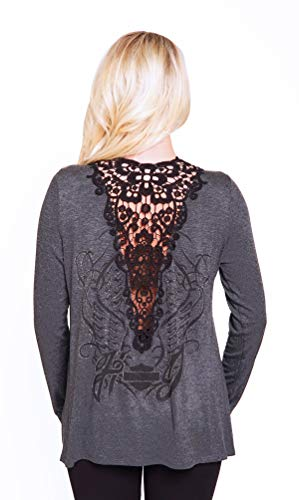 Harley-Davidson Womens Rising Wings with B&S Crochet Trim Cardigan Charcoal Long Sleeve Sweater (S/M)