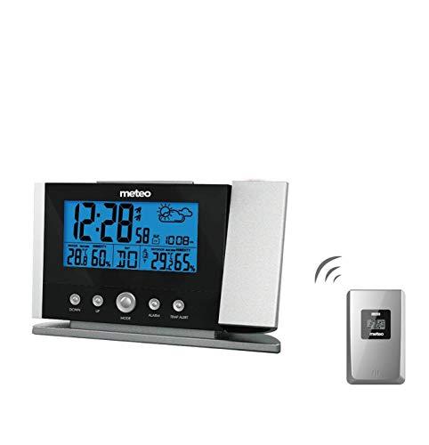 Meteo Estación Meteorológica de Casa con Reloj, Fechador, Termometro, Barometro, Sensor Externo Inalambrico, Proyector, SP51 para Pared o Escritorio