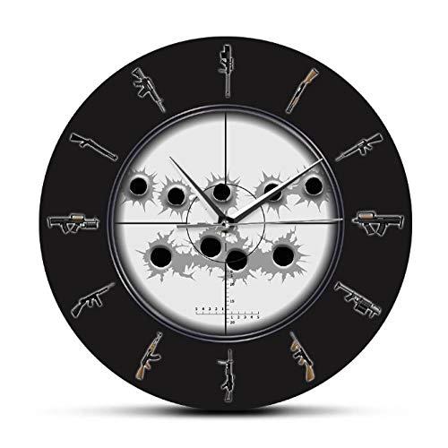 mazhant Sniper Sight con Agujeros de Bala Arte de Pared Militar Reloj de Pared Colgante Variedad de Armas Reloj de Pared Hombre Cueva ejército decoración de pared-30X30cm