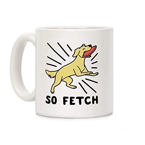 So Fetch - Taza de café de cerámica blanca para perro, de 325 ml, con tapa, regalo de Navidad
