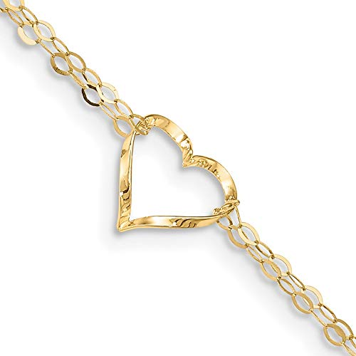 14k Yellow Gold Double Strand Heart 9 Inch 1 Adjustable Chain Plus Size Extender Anklet Ankle Beach Bracelet Love Fine Jewelry For Women Gifts For Her