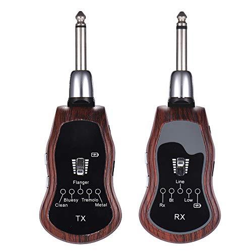 Festnight Tragbarer UHF-Gitarren-Wireless-System Sender + Empfänger 10 Kanäle eingebaute 5 Effekte (Clean/Bluesy/Flanger/Tremolo/Metall) für E-Gitarre Bass