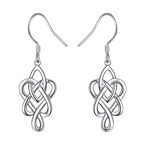 925 Sterling Silver Good Luck Irish Celtic Knot Love Knot Infinity Knot Dangle Earrings