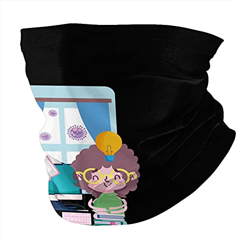 Education Online Little Boy in Room with Computer Books Plant Coro-nav-irus Pandemic Unisex Fashion face Towel Adjustable dust-Proof Balaclava Neck Guard face Towel Black