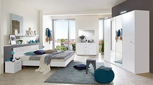 PEGANE Chambre Adulte complète, Coloris Blanc, rechampis Verre Blanc + Chrome - 180 x 200 cm
