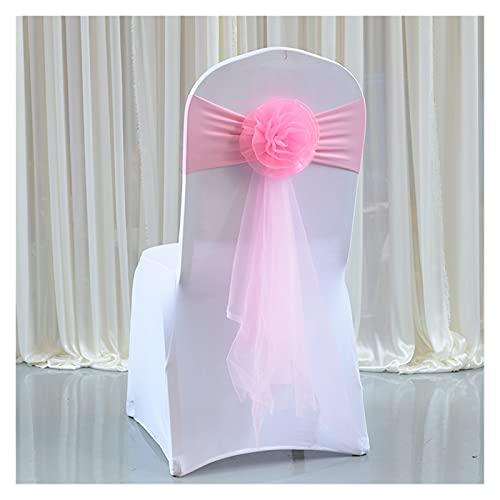 LAIQIAN Stuhlabdeckung Sash Bögen, 20 Stücke Hochzeitsstuhl Bögen Organza Stuhl Schärpen Blume Stuhlabdeckung Knoten Für Bankett Ereignis Geburtstag Party Dekoration (Color : Pink)