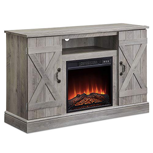47 Inch Wooden Infrared Electric Fireplace, TV Stand Up to 50' with Heater Fireplace, Realistic Glowing Log Burn Flame Heater Storage Entertainment Room Organizer TV Shelf Door Cabinet, Grey Wash