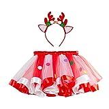 H.eternal(TM) - Disfraz de tutú para niñas y niñas, Vestido de Fiesta de Navidad, Baile, Ballet, Falda + Diadema de Ciervo, Vestido de Fiesta para bebés y niñas, Vestido Casual Rojo Rosso M