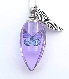 Handmade Cremation Jewelry Urn Bead Butterfly Angel Wing Sympathy Gift Sterling Silver Necklace - PURPLE