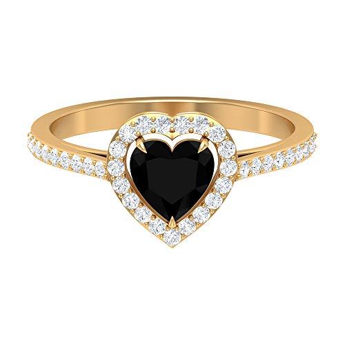 Anillo de compromiso de diamante negro creado en forma de corazón de 1,25 quilates con halo de diamantes y piedras laterales (calidad de reliquia), oro de 14 quilates negro